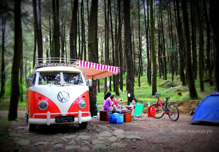 Family picnic is a quality time, accompanied by a classic VW campervan.