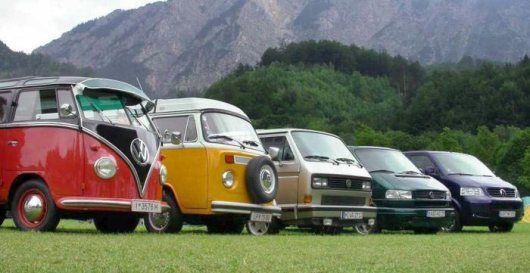 VW Transport family. Left to right: T1, T2, T3, T4 & T5.