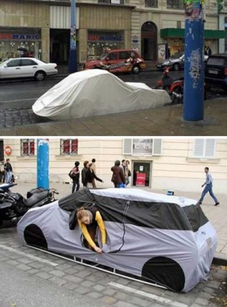With this tent, all you need to find is a parking space and you have a place to sleep in any city. Good luck.