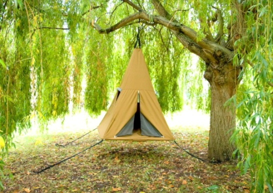 A teepee you can hang from a tree. It's everything you want from a tree house without any of the having to build it.