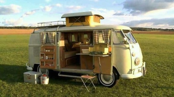 A beautiful split bus camper.