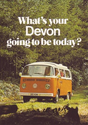 The advertisement from Devon, one of camper manufacturers at that time.