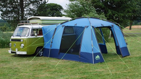 A bay camper with a more modern side tent.