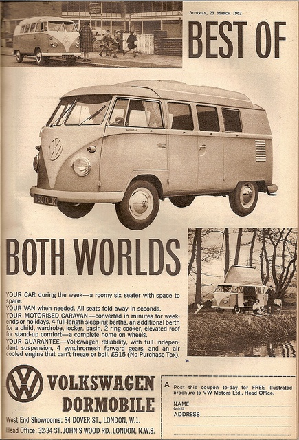 A VW Dormobile British advertisement.