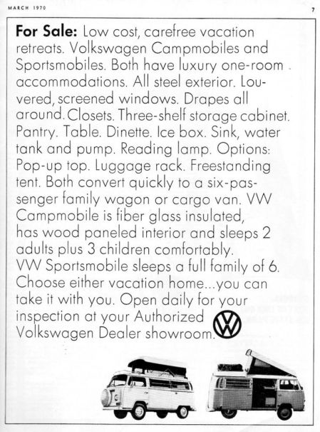 Another vintage British advertisement selling VW Campervans.