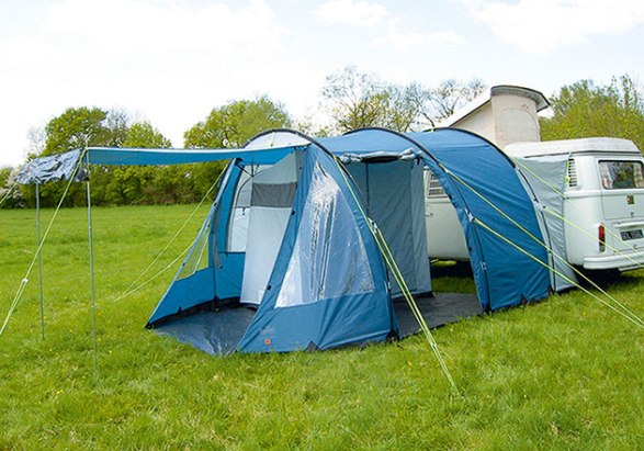 Royal Traveller – £195 This regal-sounding drive-away awning has been in production for several years now, which is a good sign of how popular it is. It's a good sized, lightweight offering that comprises three glass fibre poles and a polyester outer.  Extra support is added by two roof poles inside the awning, plus guy ropes so it should withstand everything an English summer can throw at it. www.campershop.co.uk