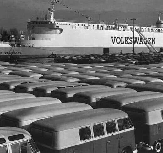 Fresh manufactured VW Type II T1 waiting to be exported via ship, circa 1950s...